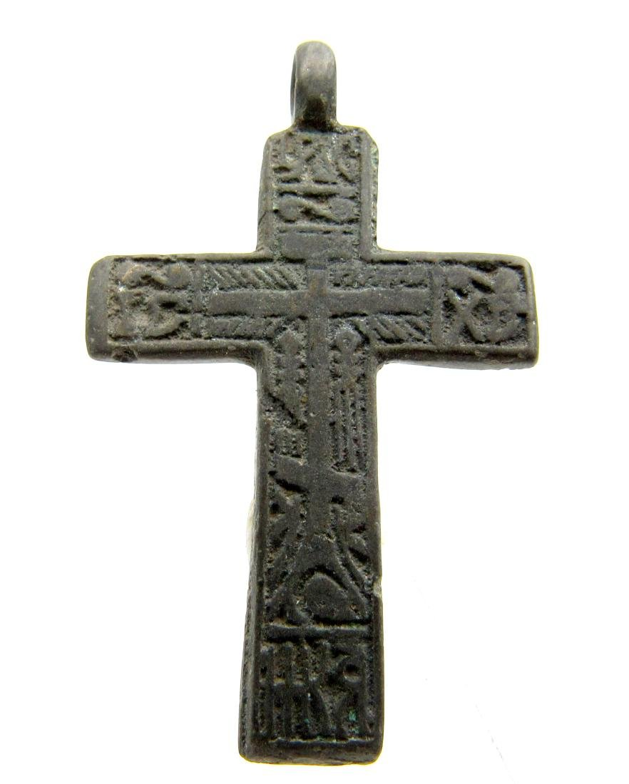 Late Medieval Cross Pendant with Religious Decoration - 3