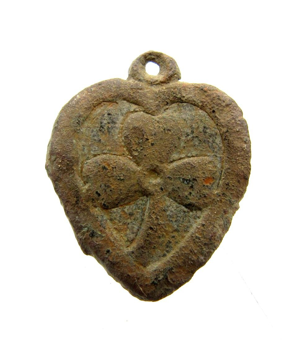 Medieval Heart Shaped Pendant with Floral Motif