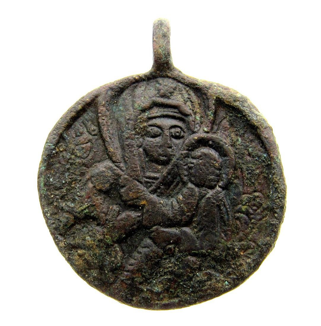 Post Medieval Religious Medallion with Mother Mary and