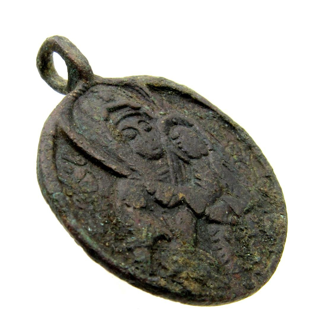 Post Medieval Religious Medallion with Mother Mary and - 2