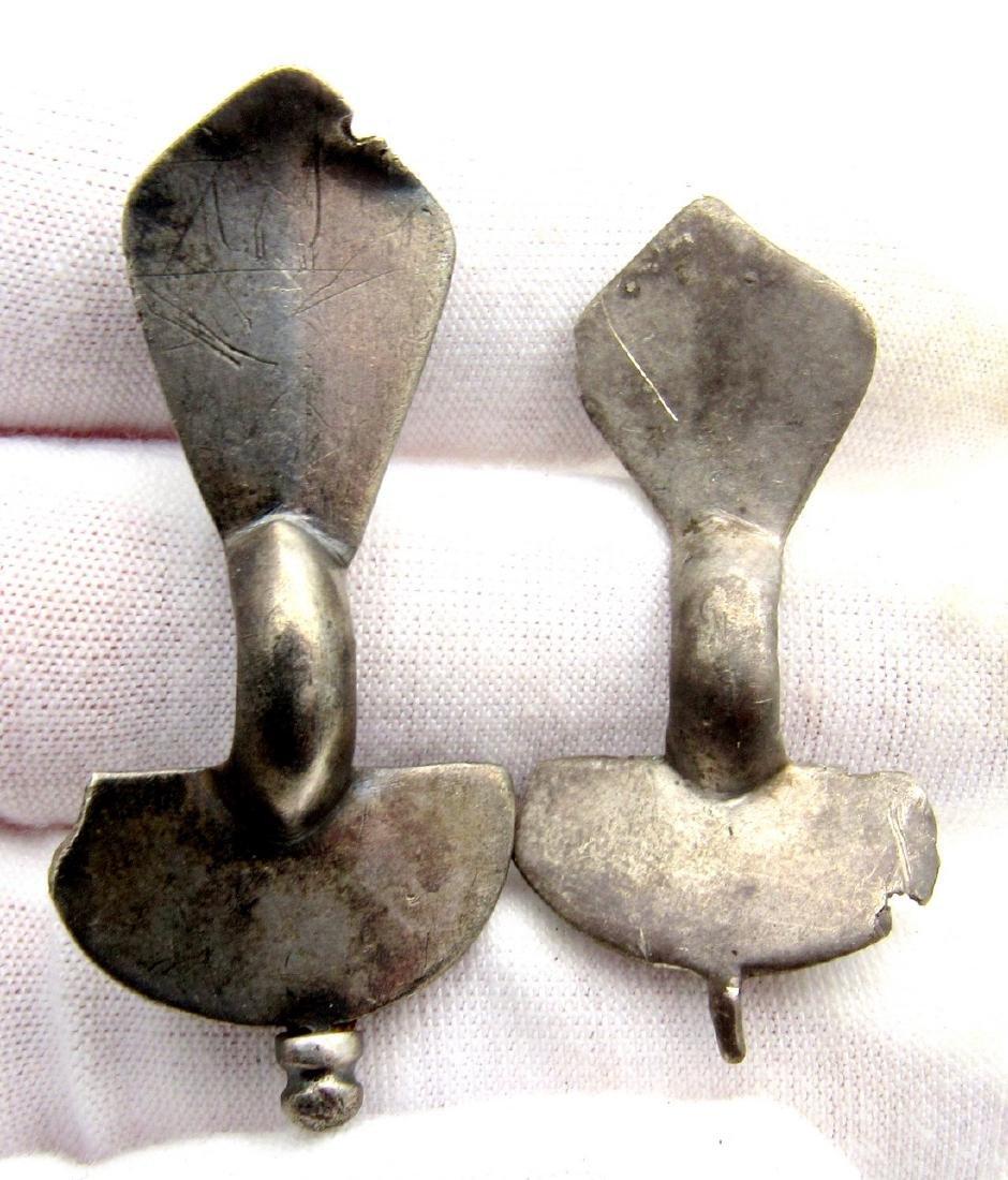 Pair of Saxon Era Silver Bow Brooches - 3