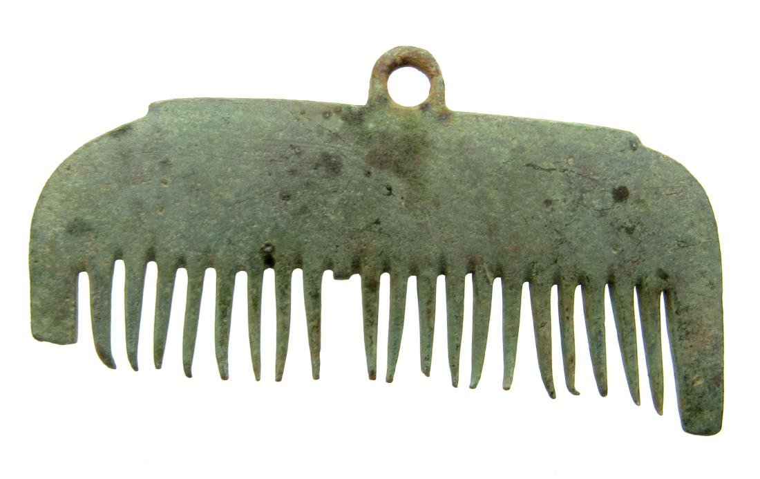 Viking Bronze Hair Comb Pendant - 2