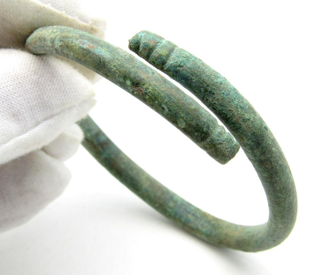 Celtic Bronze Age Coiled Bracelet with Snake Terminals - 2