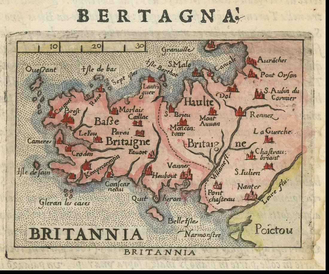Ortelius: Antique Map of Brittany, France, 1599