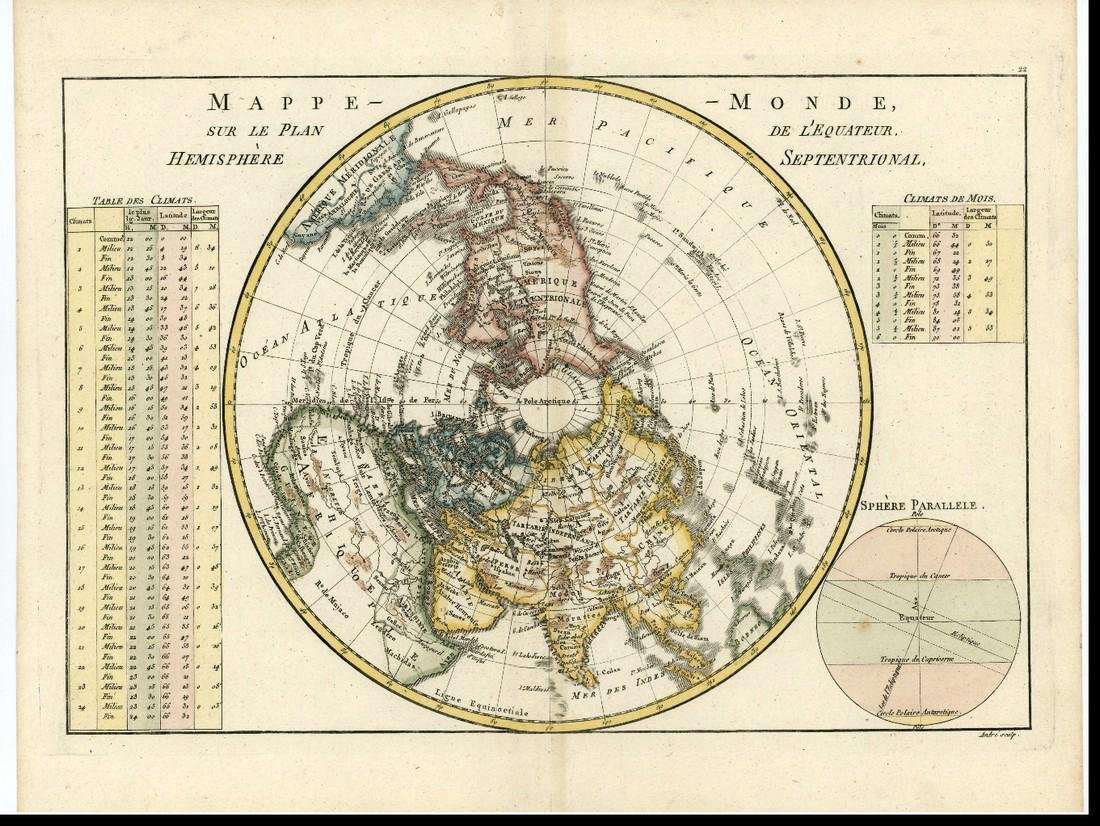 Bonne: Antique Map of Northern Polar Projection, 1787