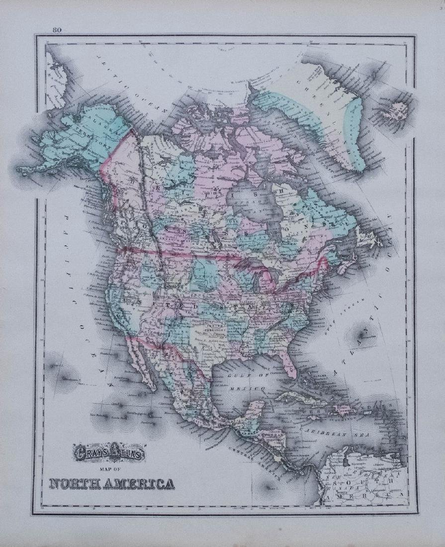 Gray: Antique Map of North/South America, 1870