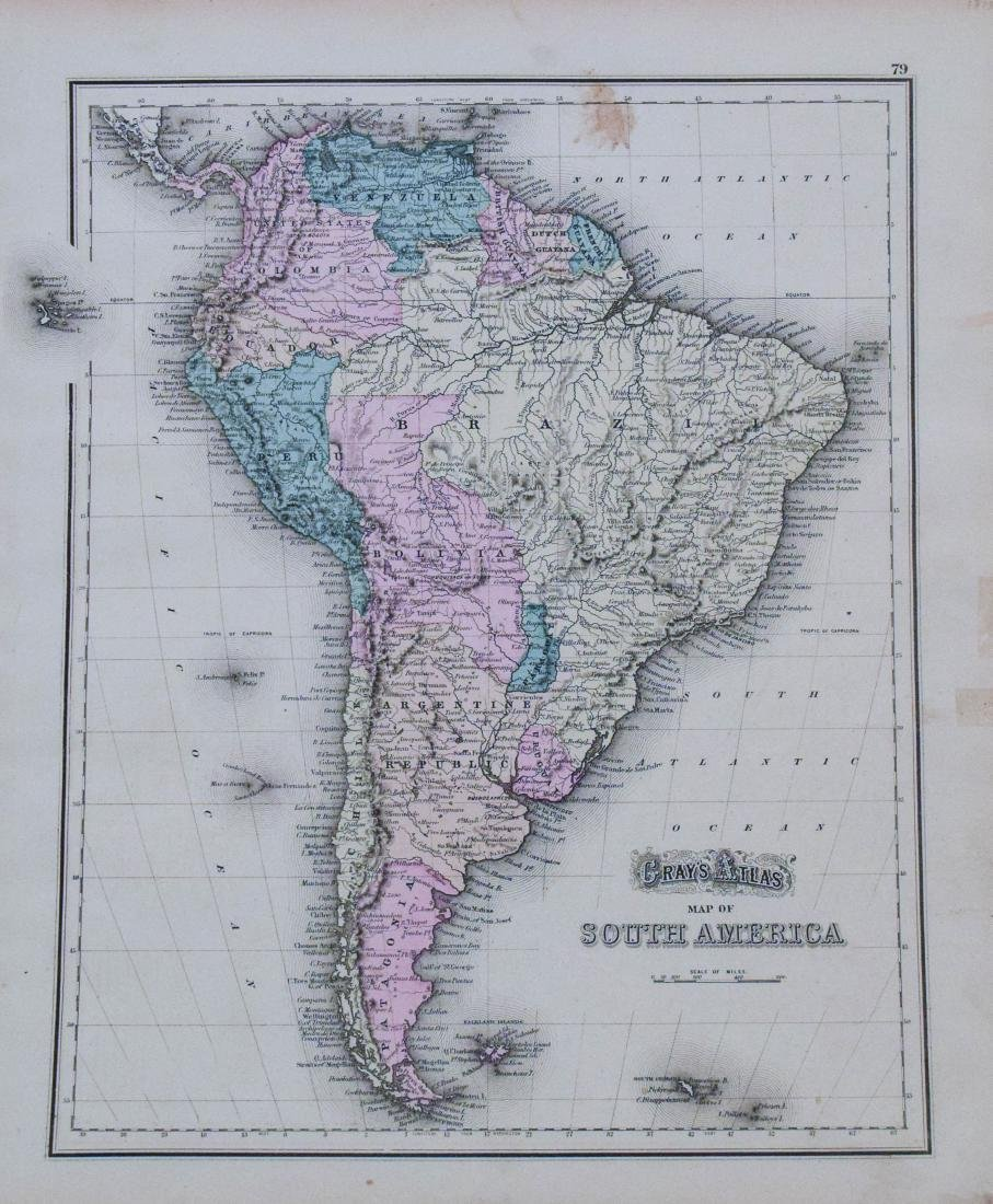 Gray: Antique Map of North/South America, 1870 - 2