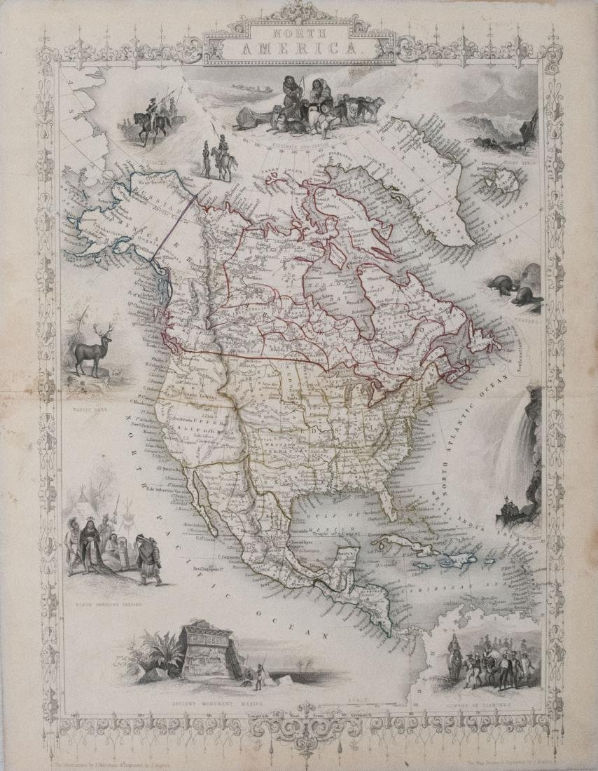 Tallis: Antique Map of North America, 1851