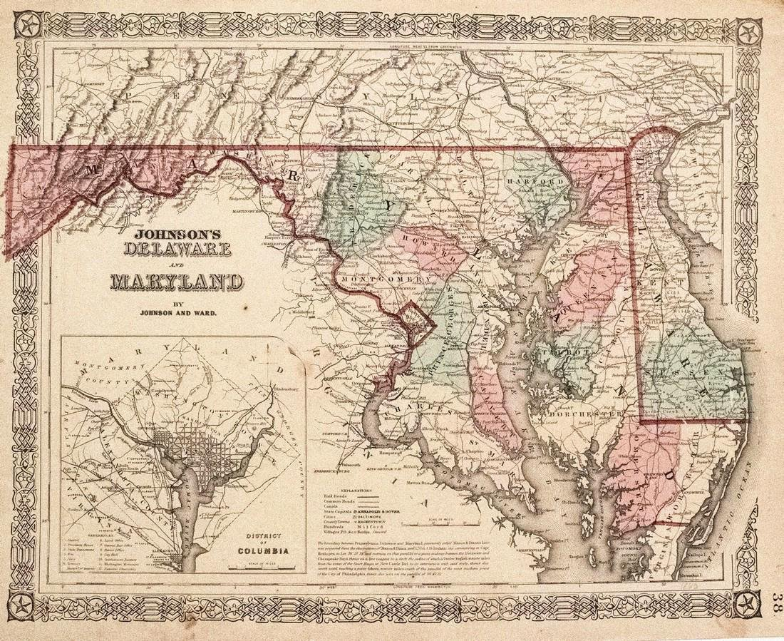 Johnson: Antique Map of Delaware & Maryland, 1864