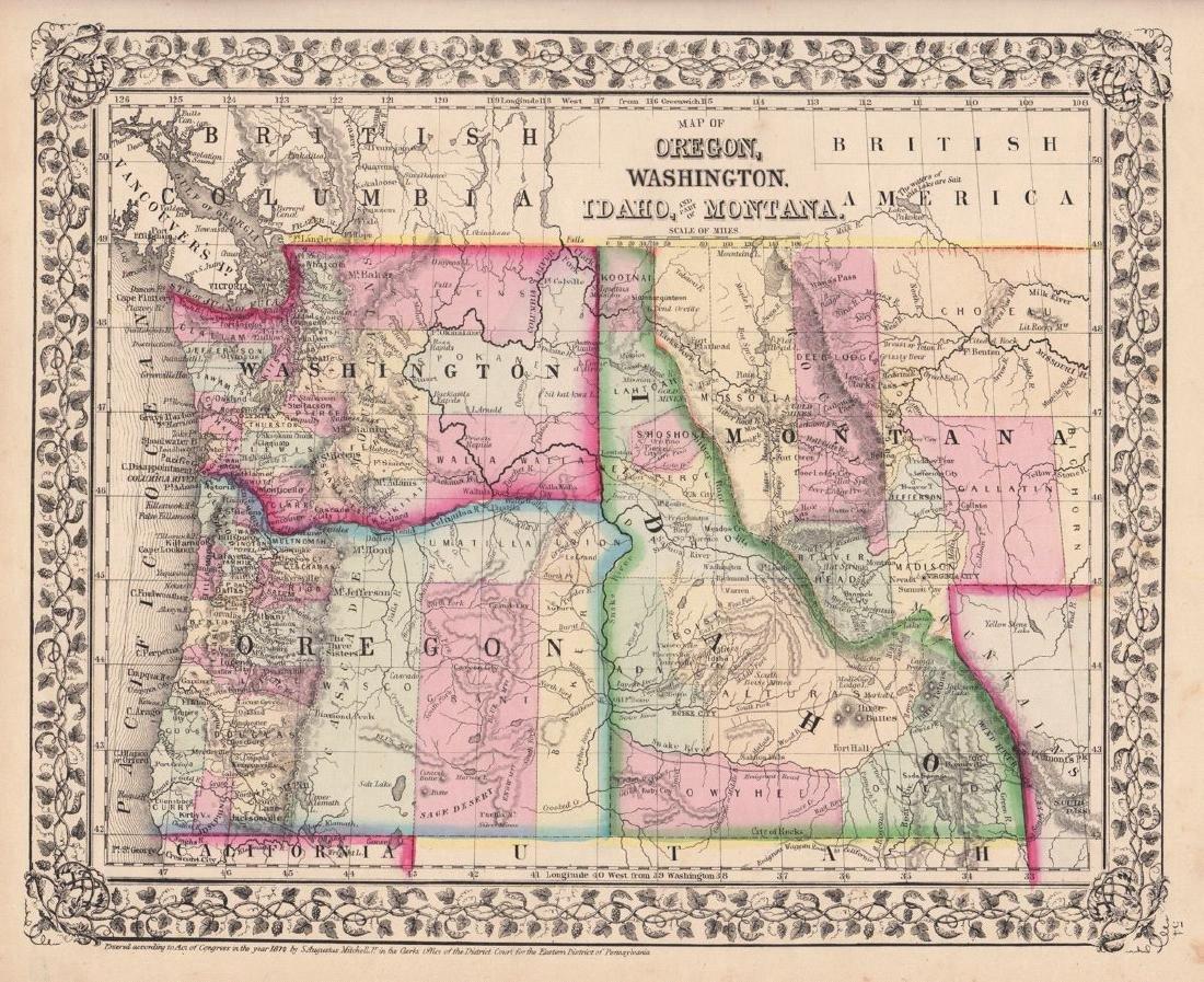 Mitchell: Antique Map of Oregon Washington Idaho, 1870