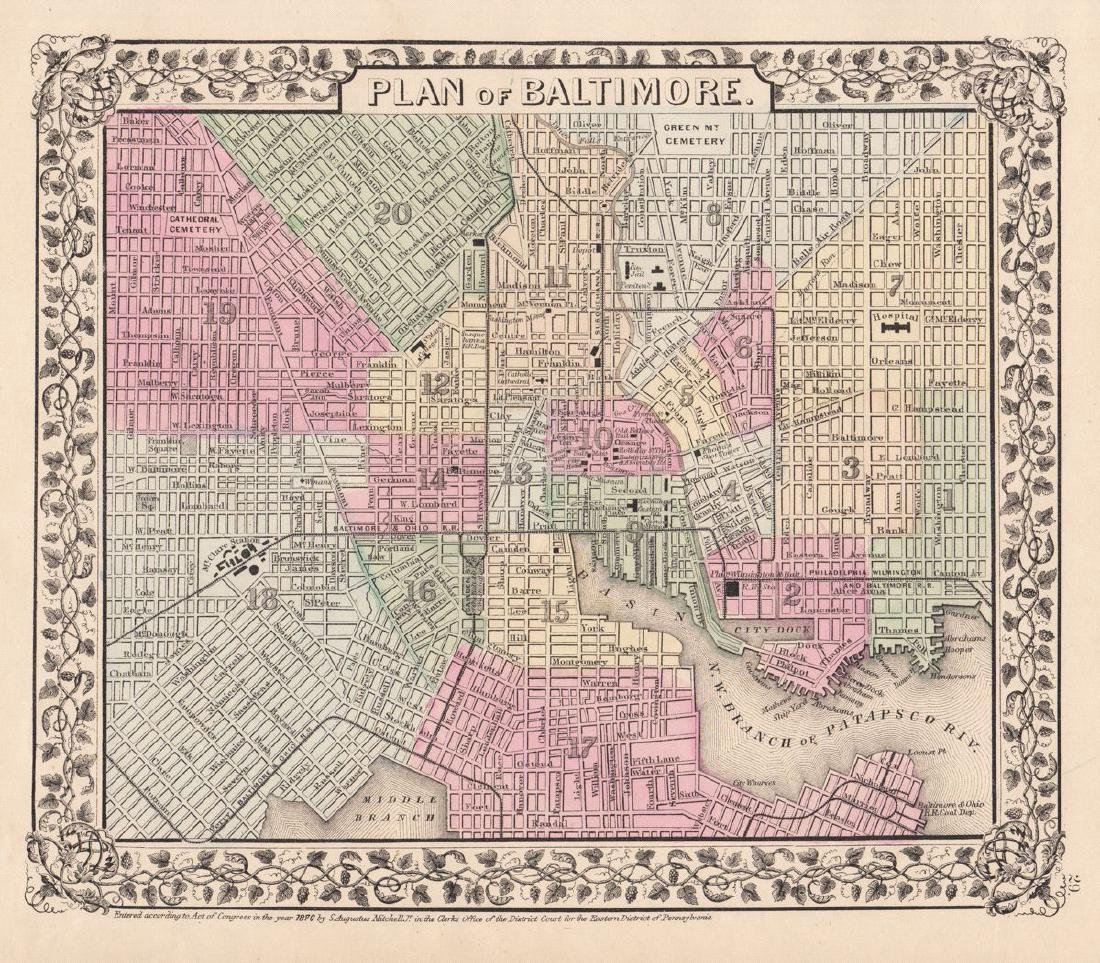 Mitchell: Antique Plan of Baltimore, 1870