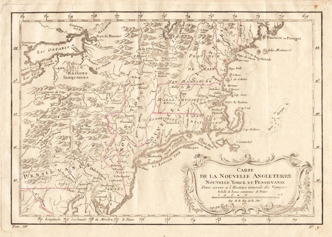 Bellin: Antique Map of New England, 1757