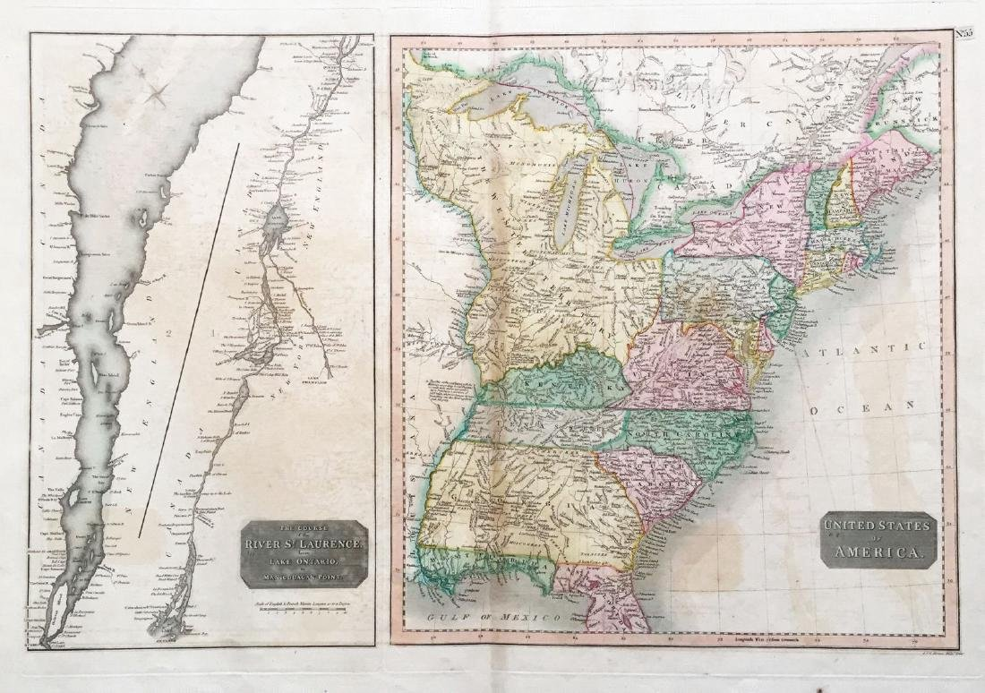 Thomson: Antique Map of U.S. / St. Lawrence River, 1817