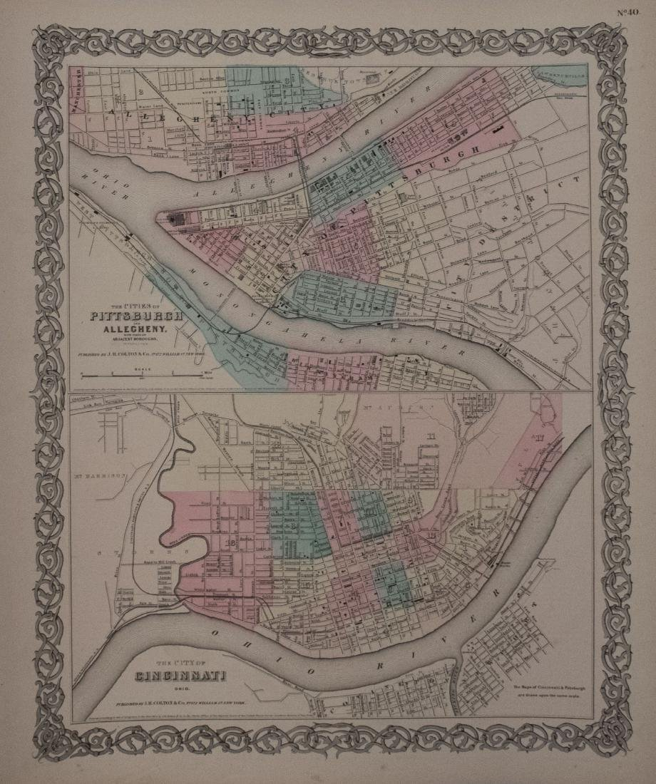 Colton: Antique Map of Cincinnati and Pittsburgh, 1856