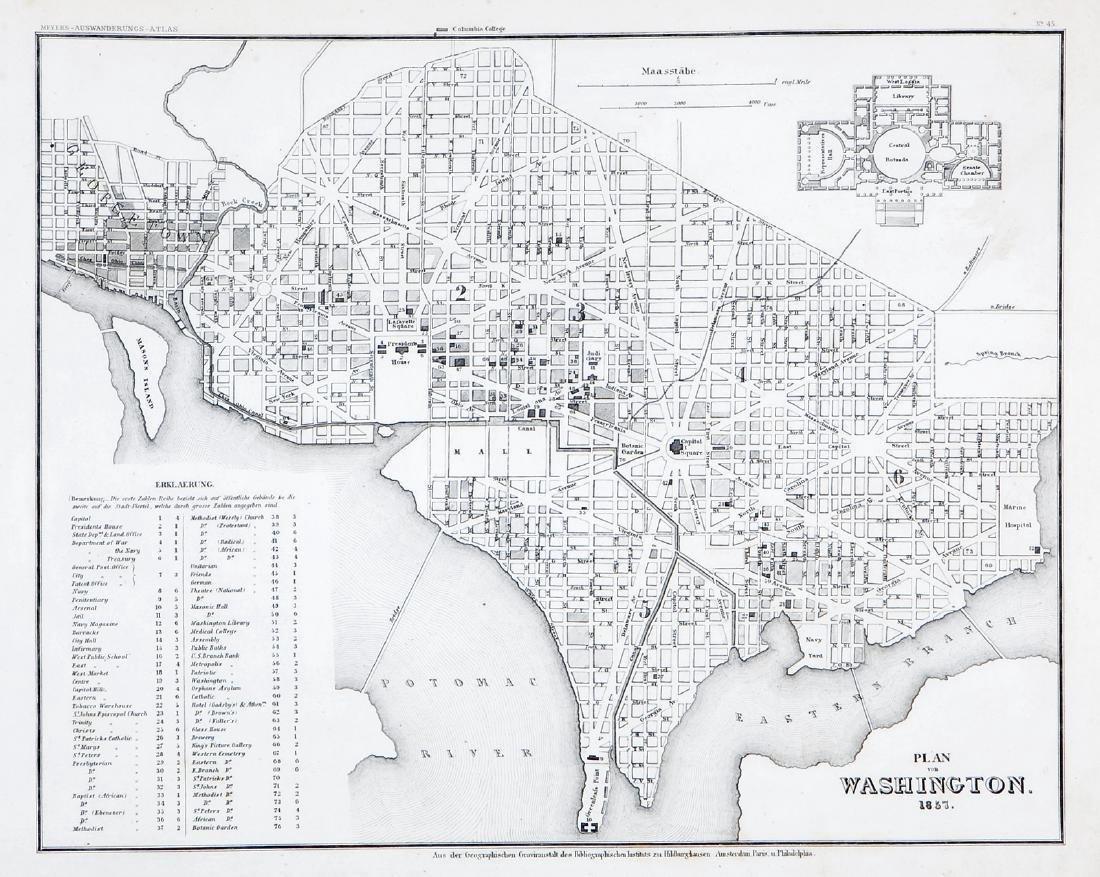 Antique Map of Washington, D.C., 1857
