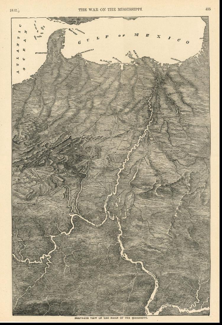 Antique Birds Eye Map of the Mississippi Basin, 1866