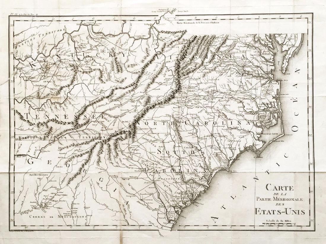 Tardieu: Antique Map of Southeastern U.S., 1790
