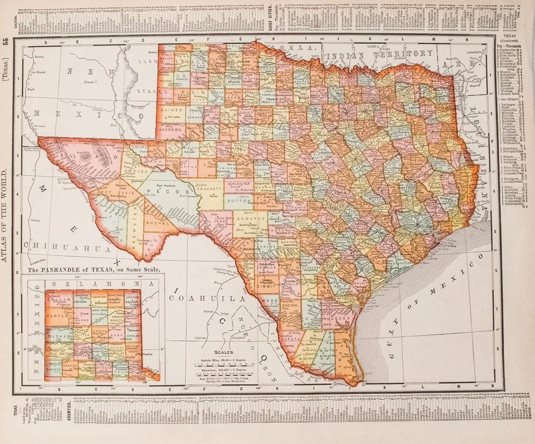 Rand McNally: Antique Map of Texas & Indian Territory