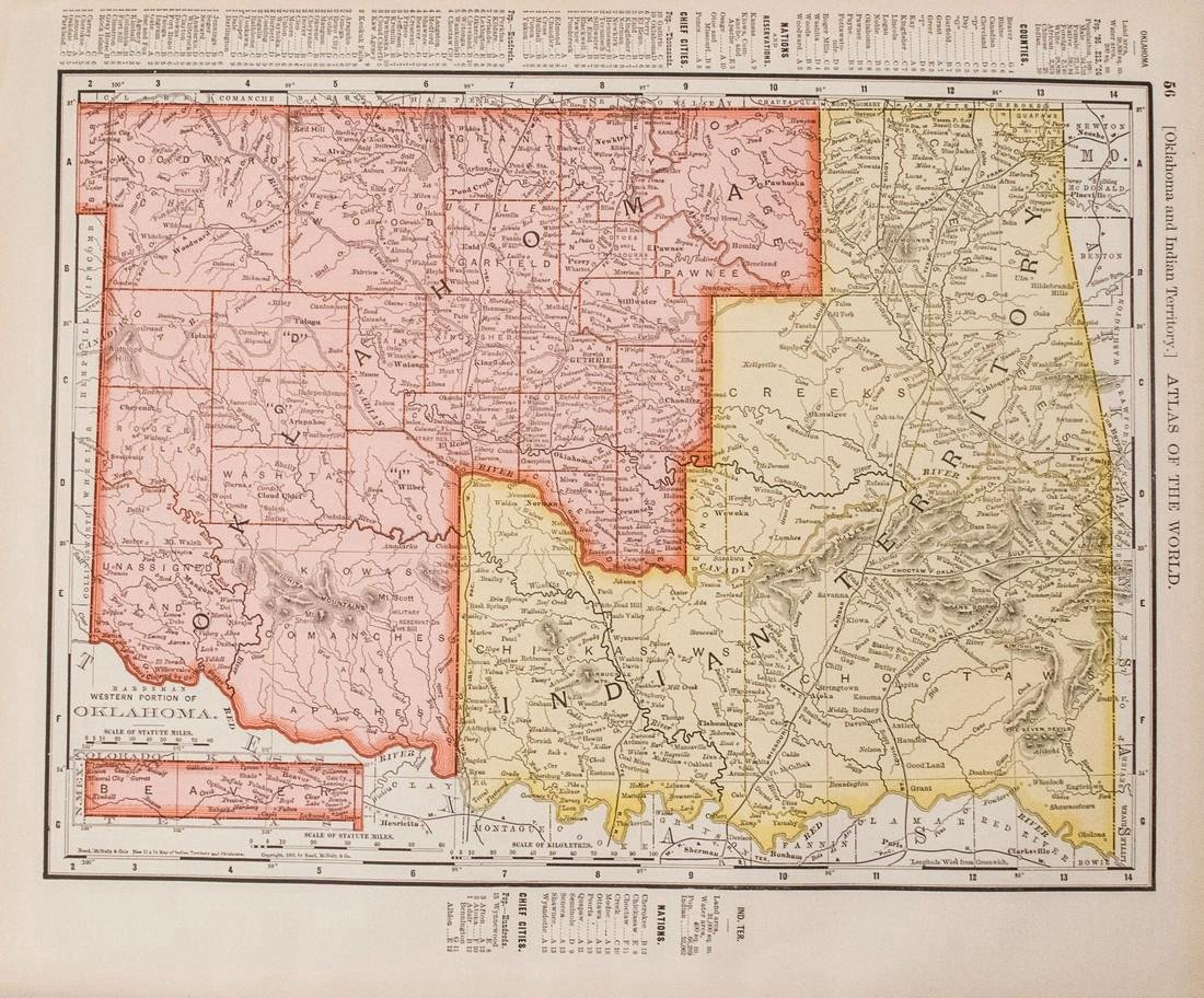 Rand McNally: Antique Map of Texas & Indian Territory - 2