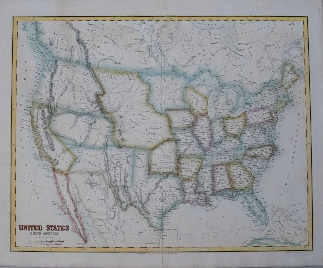 Fullarton: Antique Map of United States, 1854