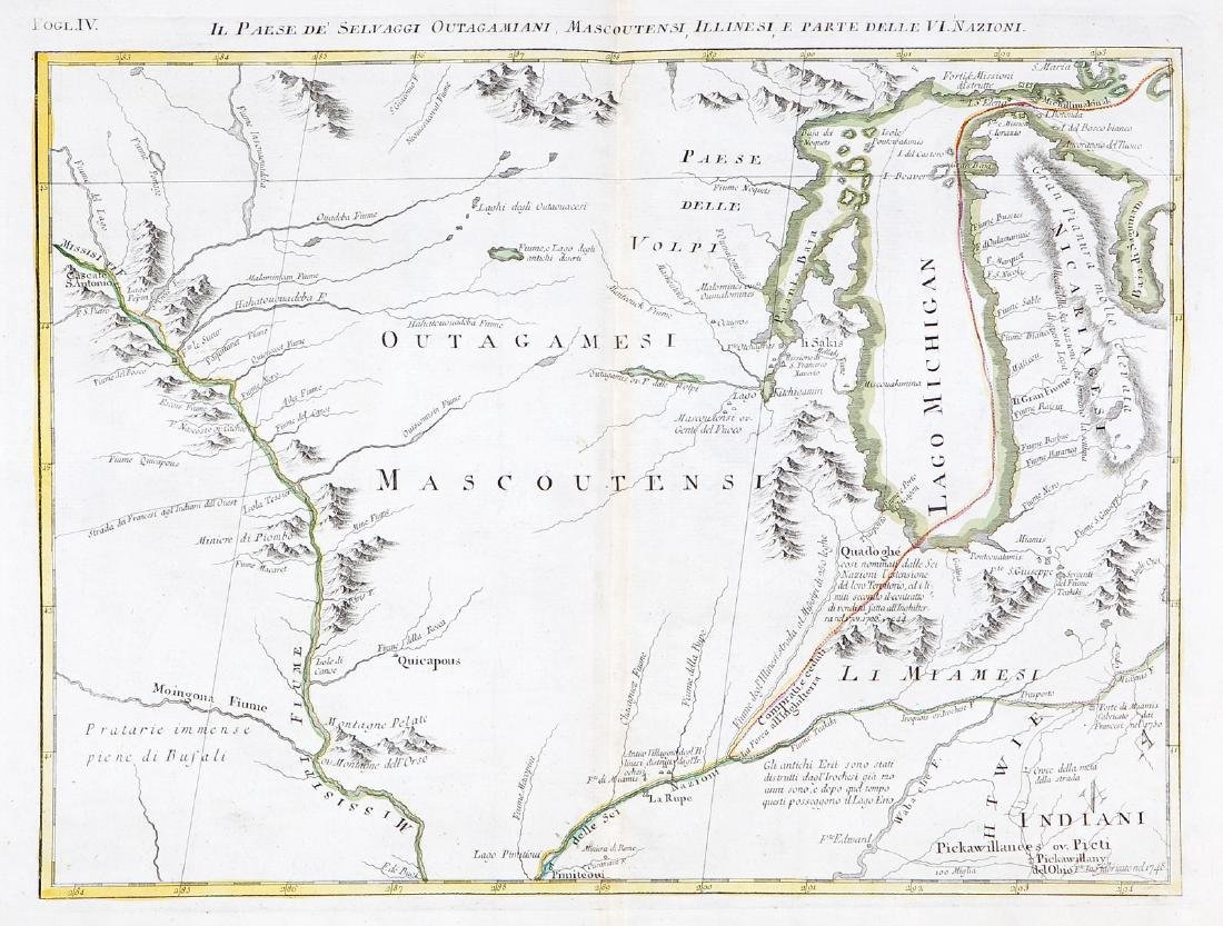 Zatta: Antique Map Lake Michigan / Upper Midwest, 1778