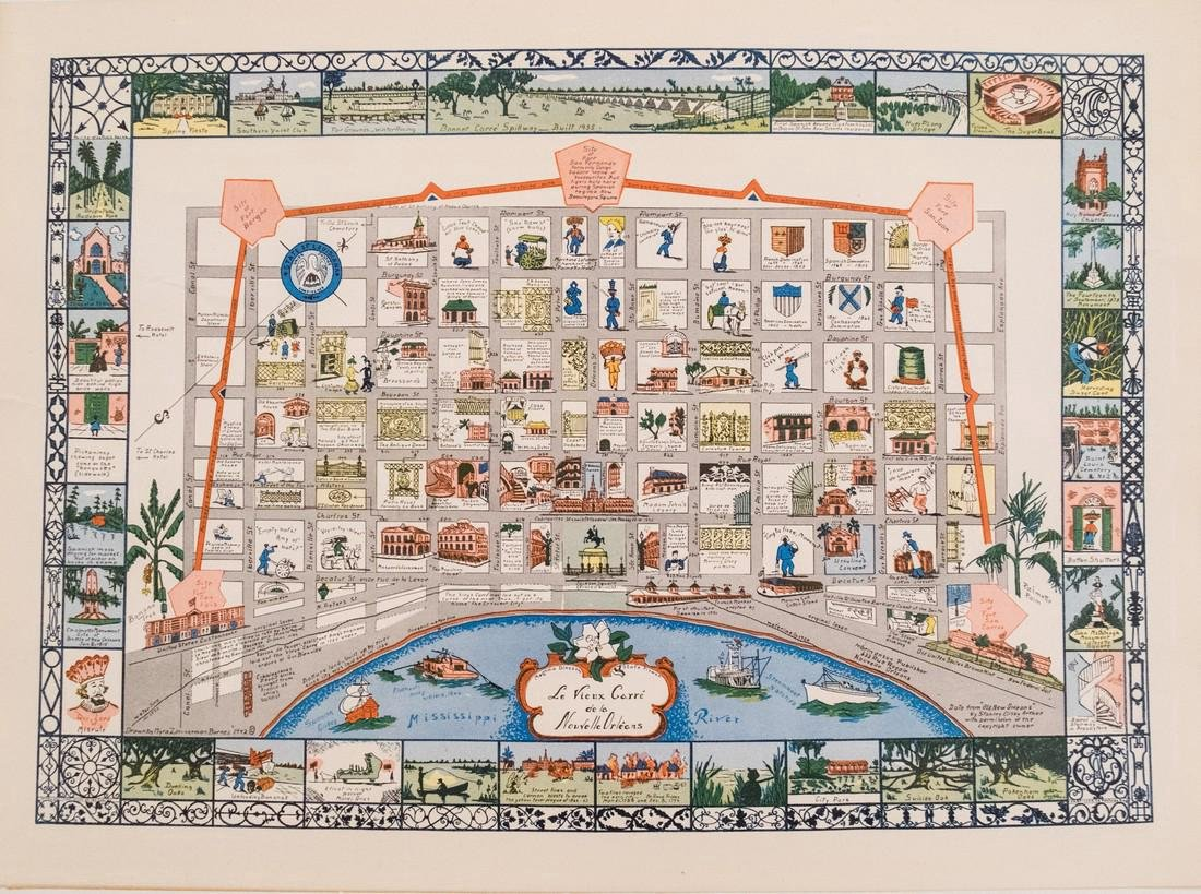 Barnes: Antique Map of French Quarter, New Orleans 1942
