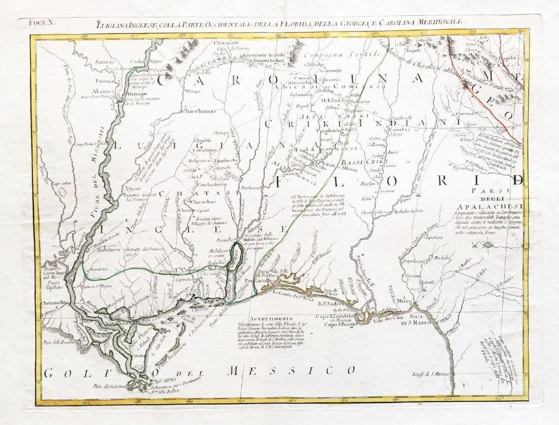 Zatta: Antique Map of English Louisiana, 1778