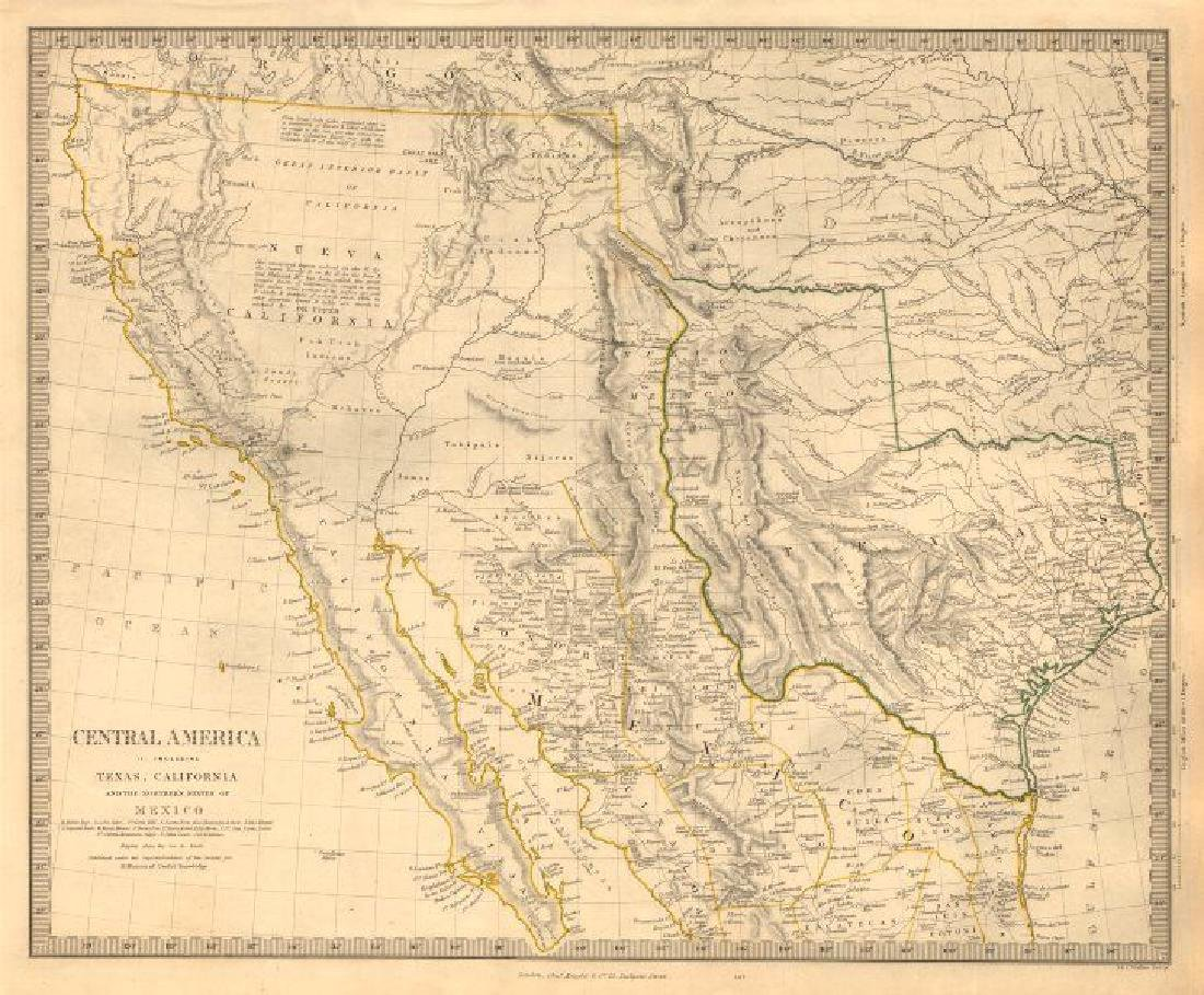 SDUK: Antique Map of Southwestern USA, 1846