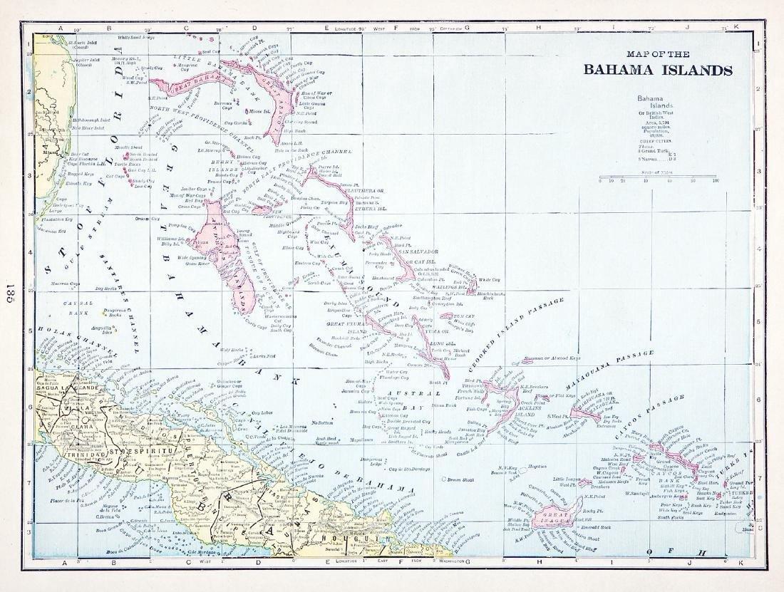 Cram: Antique Map of Bahama Islands, 1892
