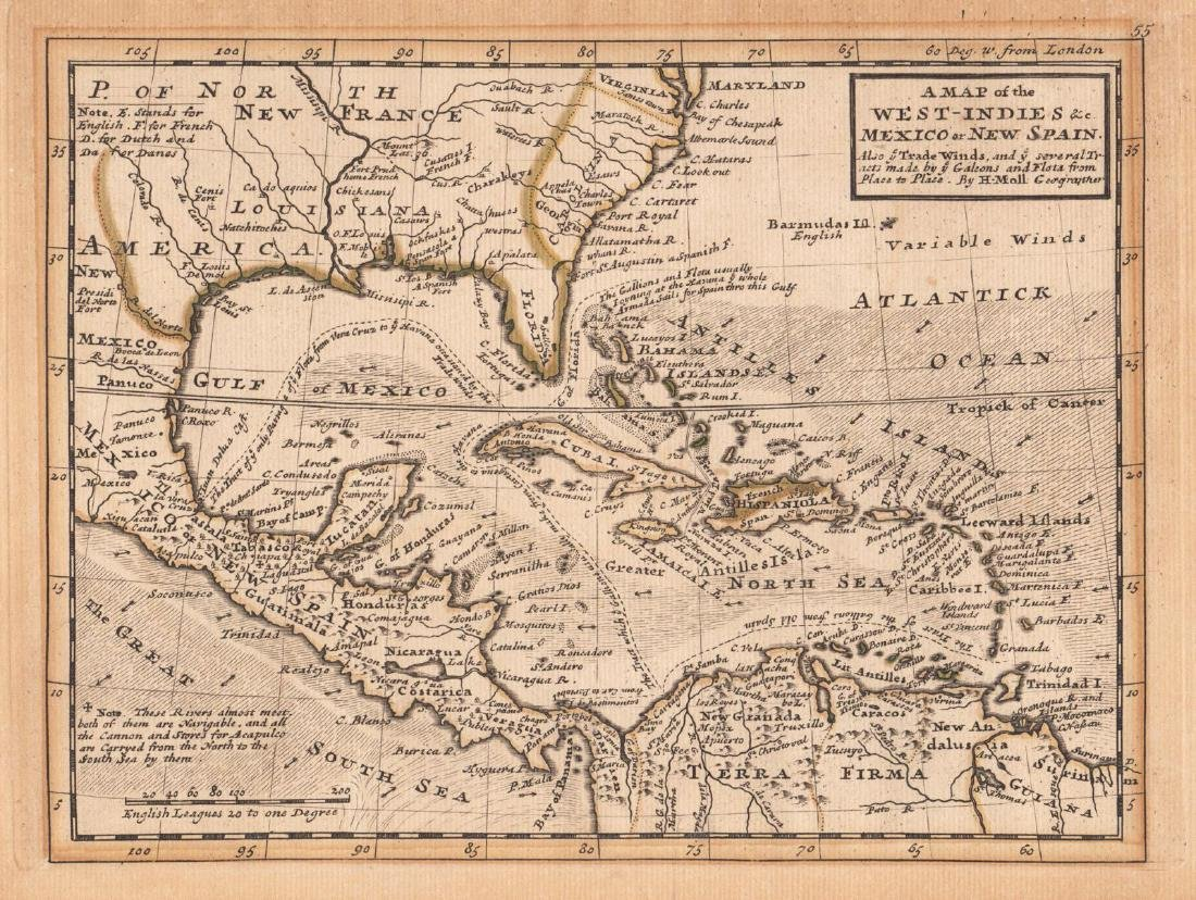 Moll: Antique Map of West Indies & New Spain, 1729