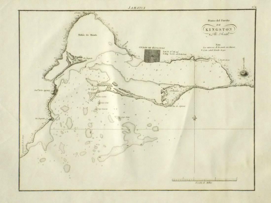 de Ferrer: Antique Map of Kingston, Jamaica, 1818 - 2