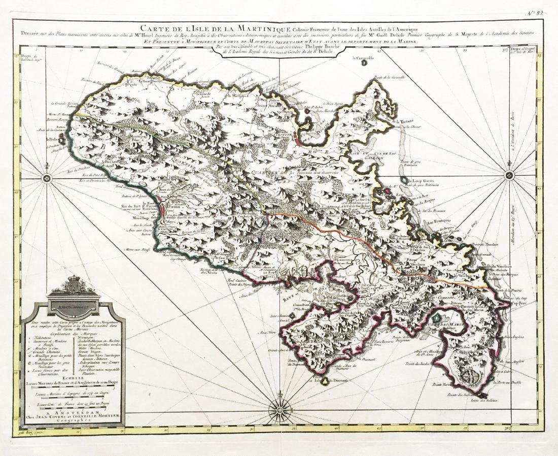 Buache: Antique Map of Martinique, 1730