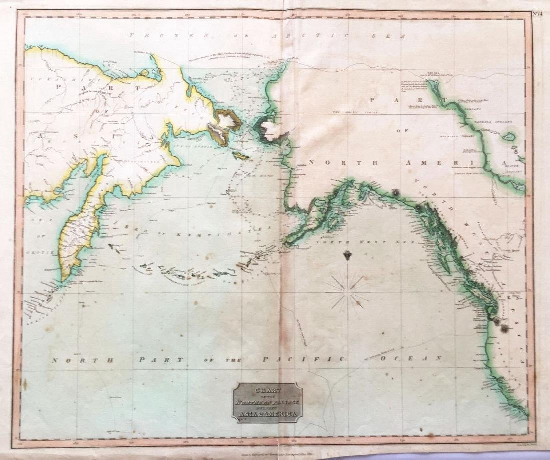 Thomson: Antique Map of Alaska/Bering Strait, 1816
