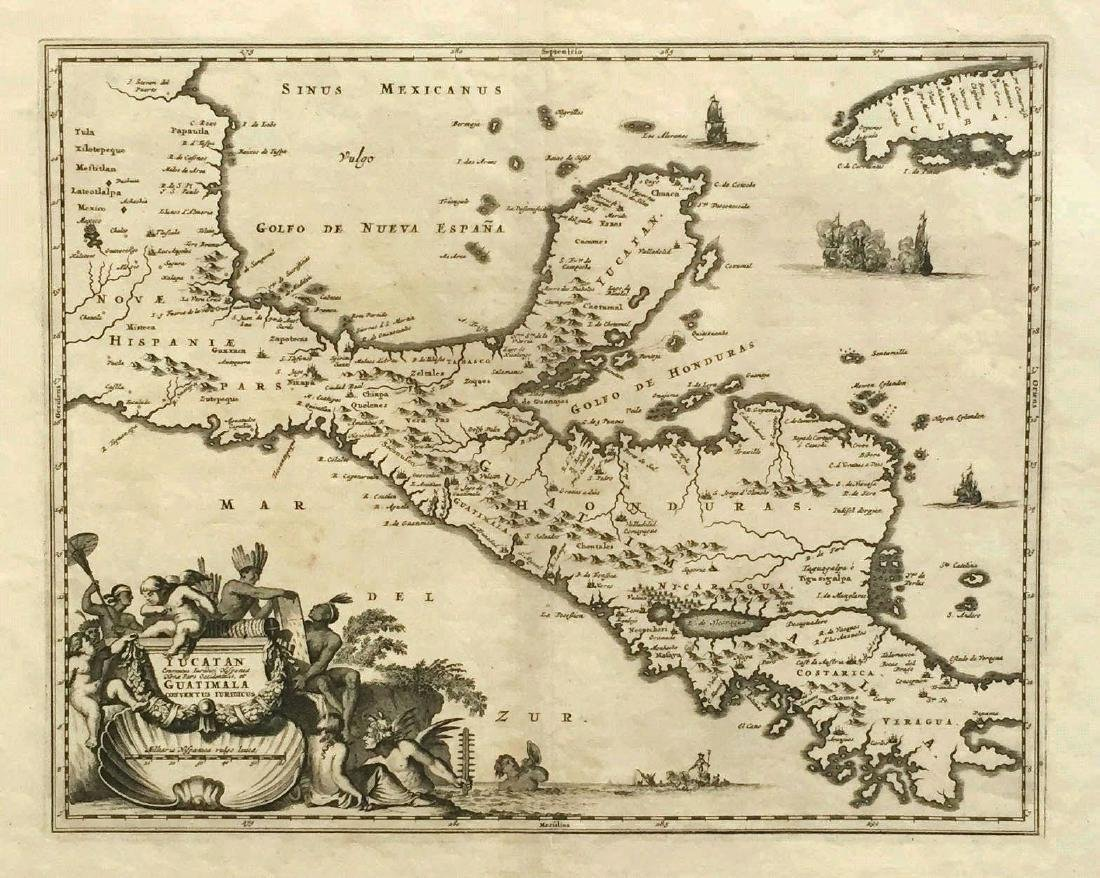 Montanus / Ogilby: Antique Map of Central America, 1671