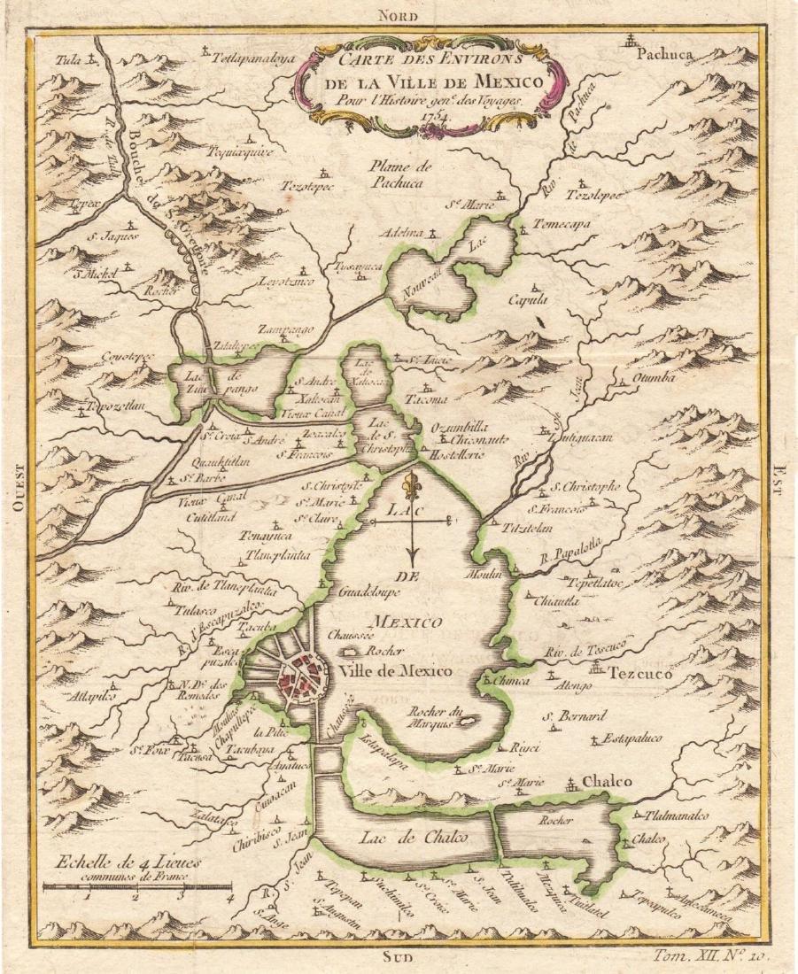 Bellin: Antique Map of Mexico City Region, 1754