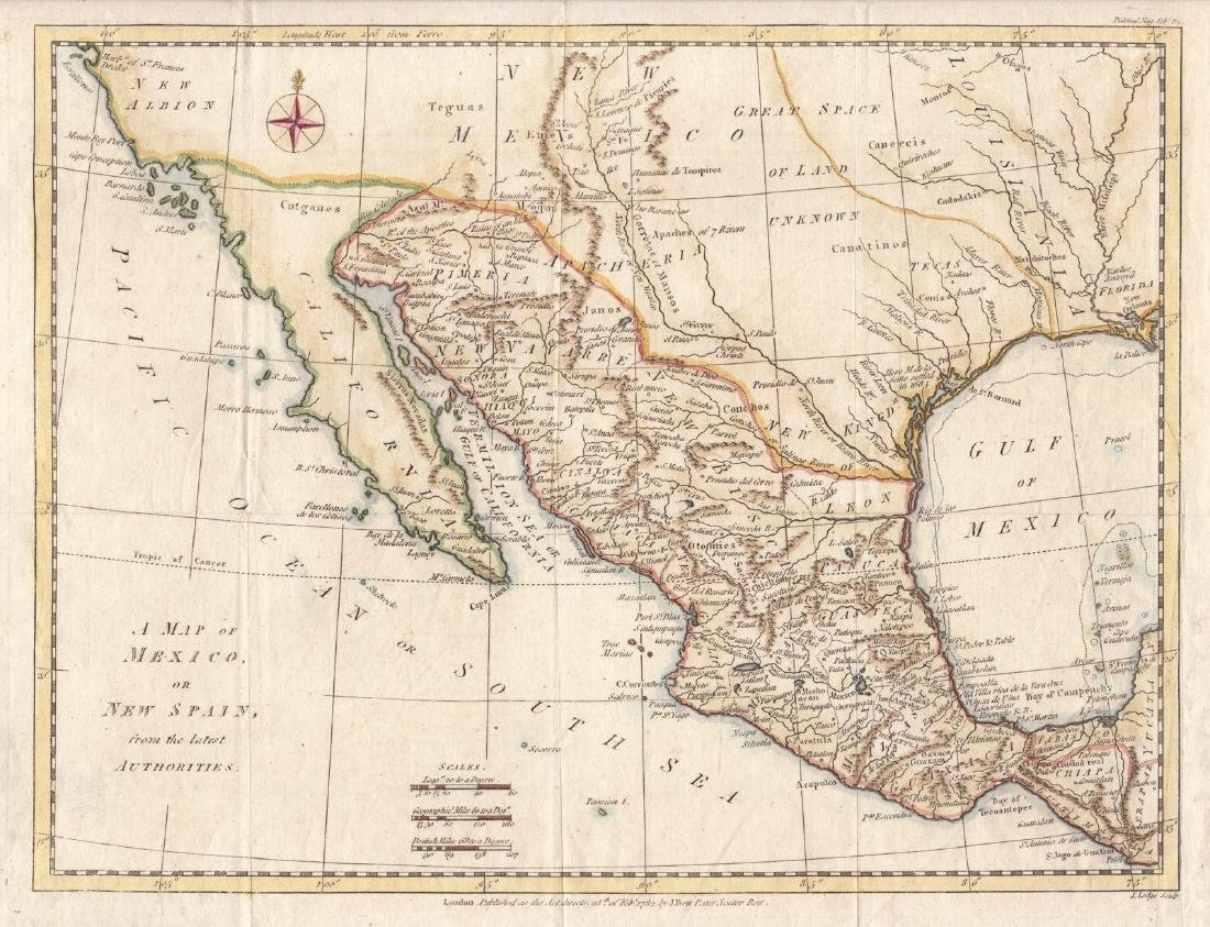 Lodge: Antique Map of Mexico or New Spain, 1782