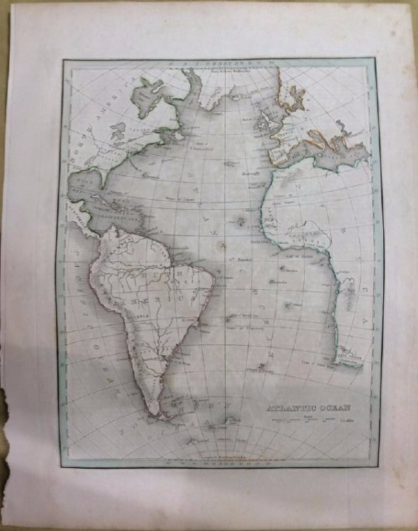 Bradford: Antique Map of Atlantic Ocean, 1835