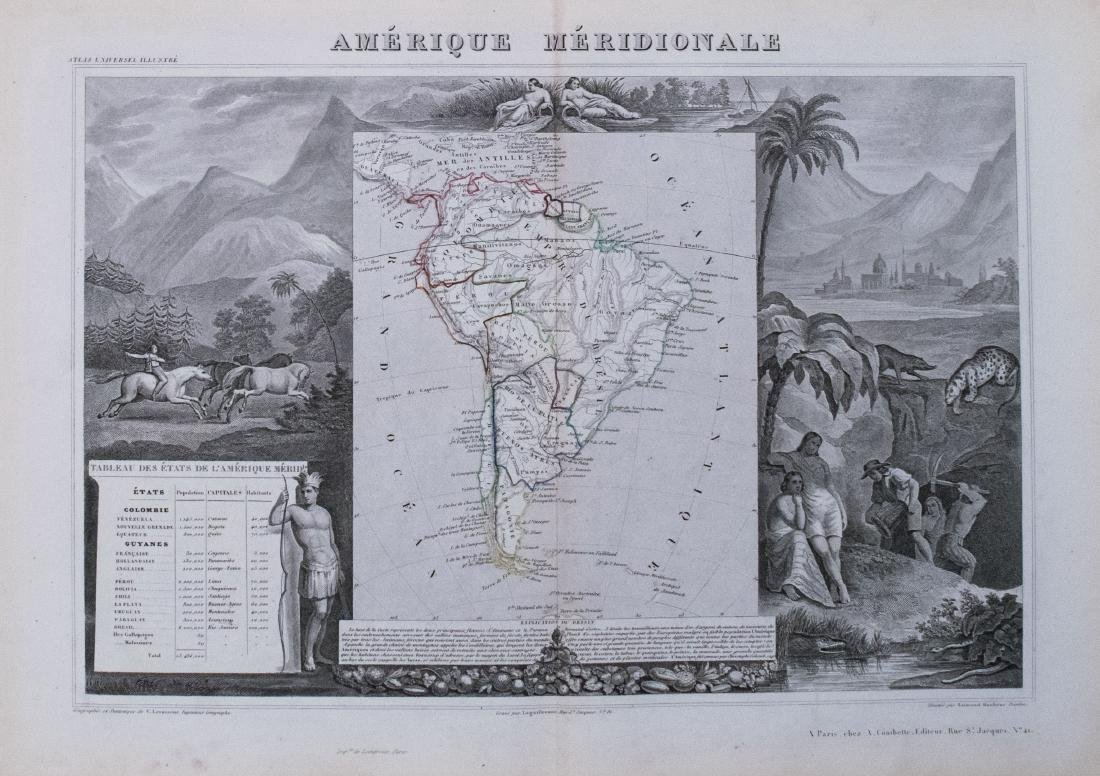 Levasseur: Antique Map of South America, 1850