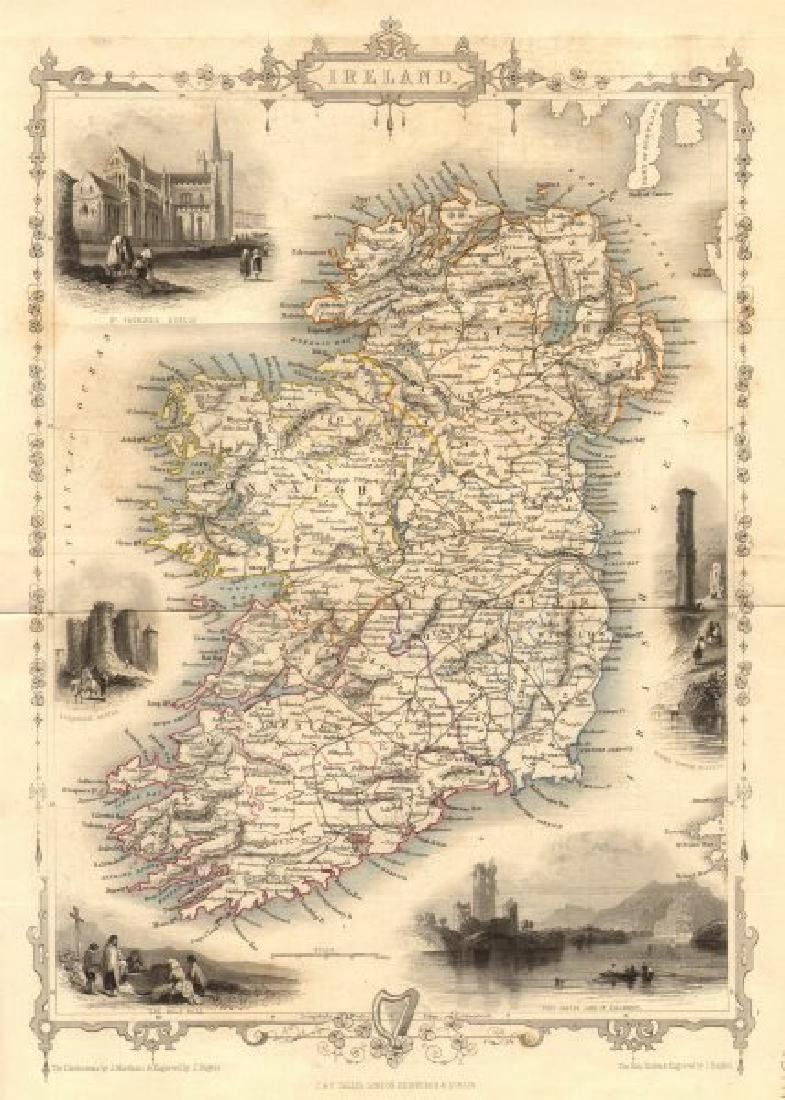 Tallis/Rapkin: Antique Map of Ireland, 1853