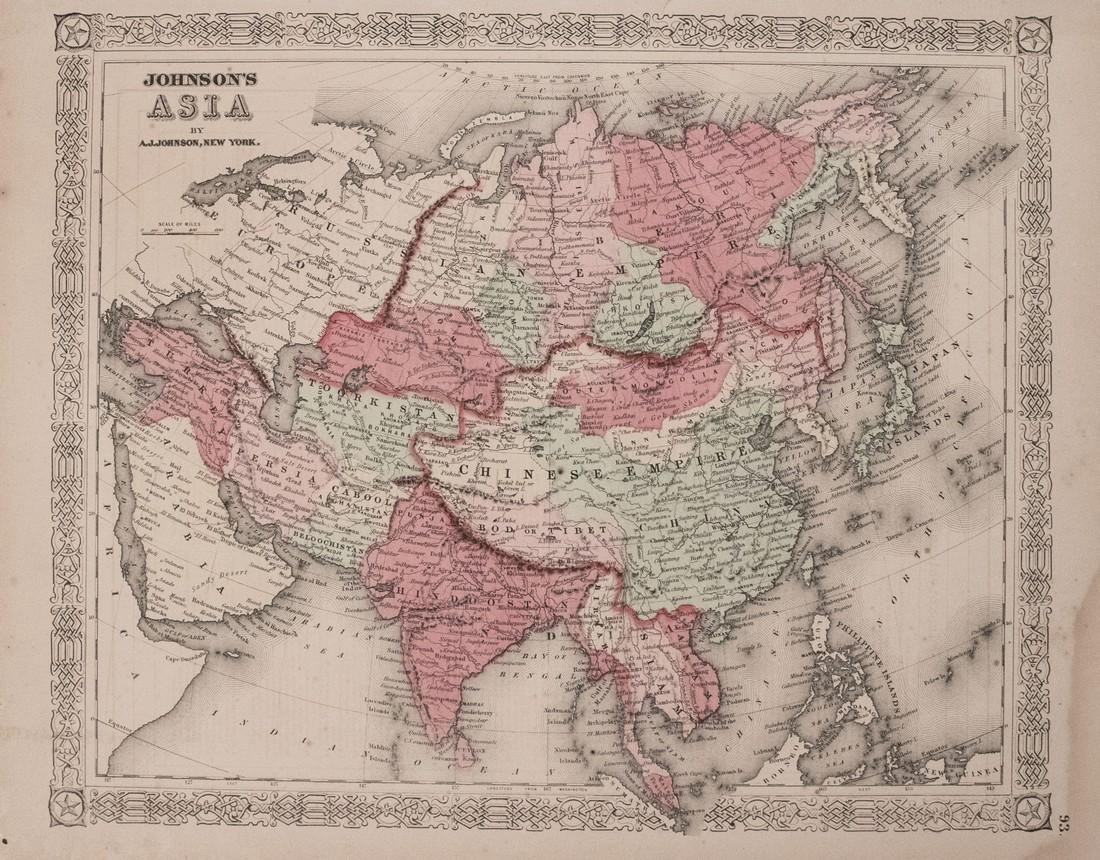Johnson: Antique Map of Asia, 1863