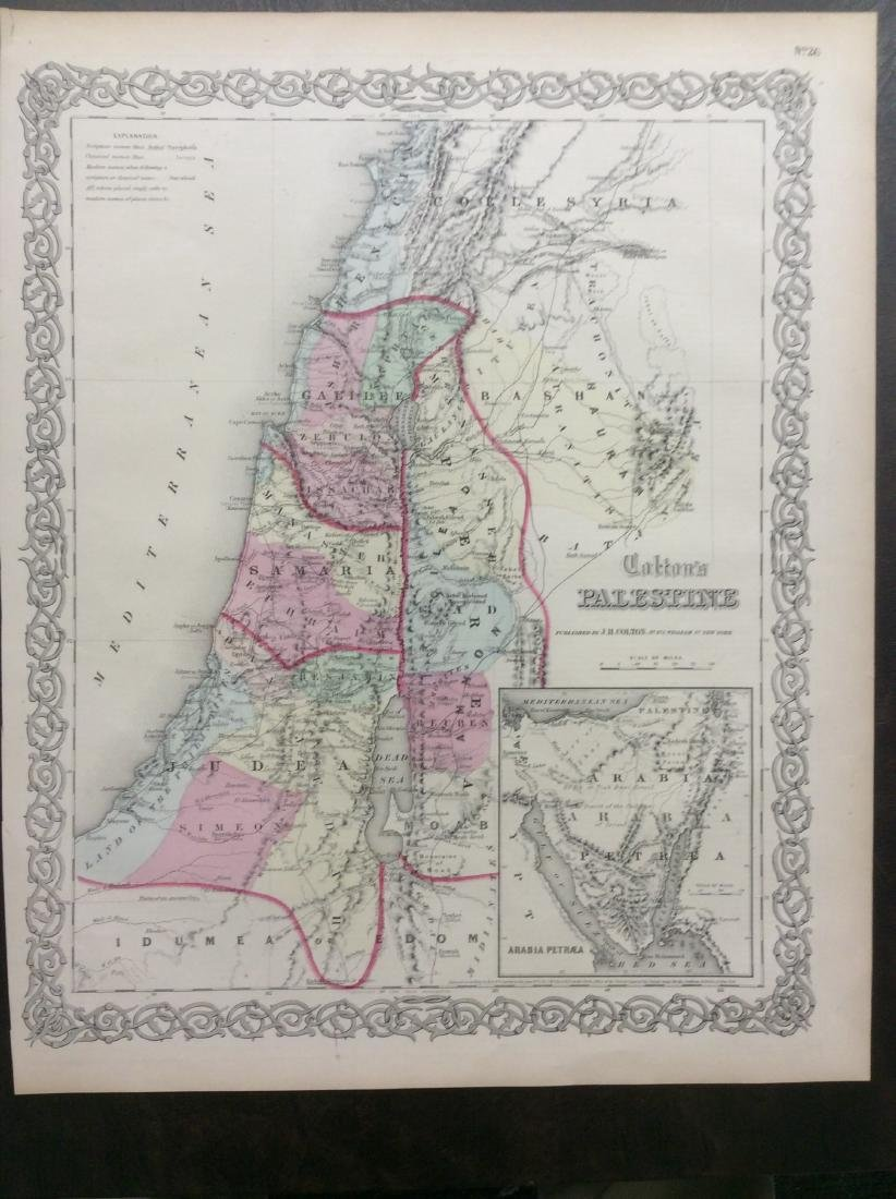 Colton: Antique Map of Palestine (Israel), 1861