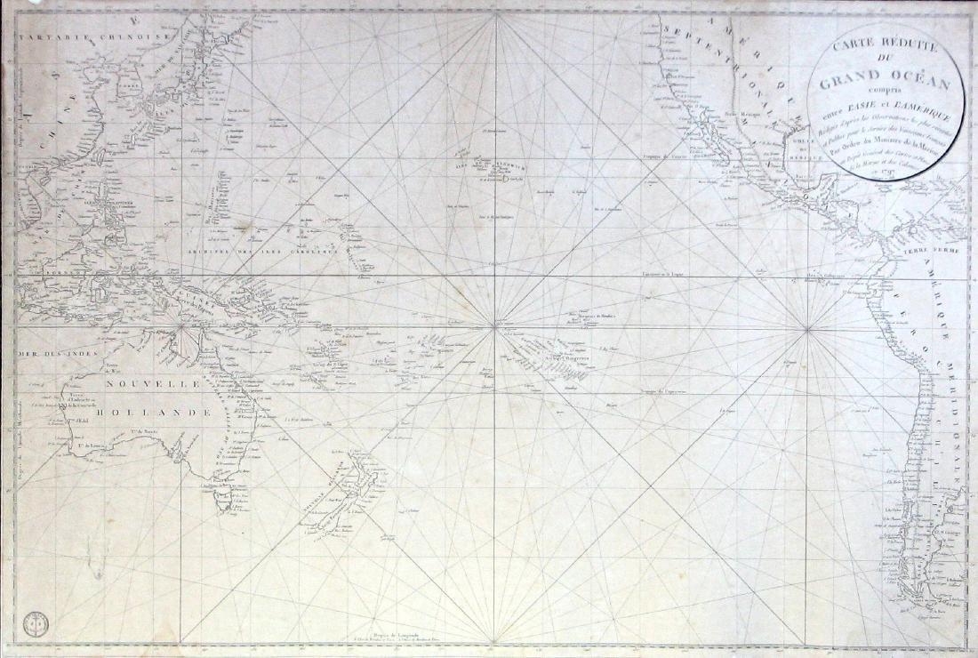Antique Navigation Chart of Grand Ocean, 1818