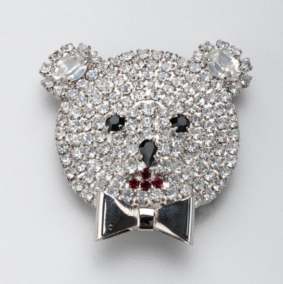 BUTLER & WILSON BEAR WITH BOWTIE BROOCH