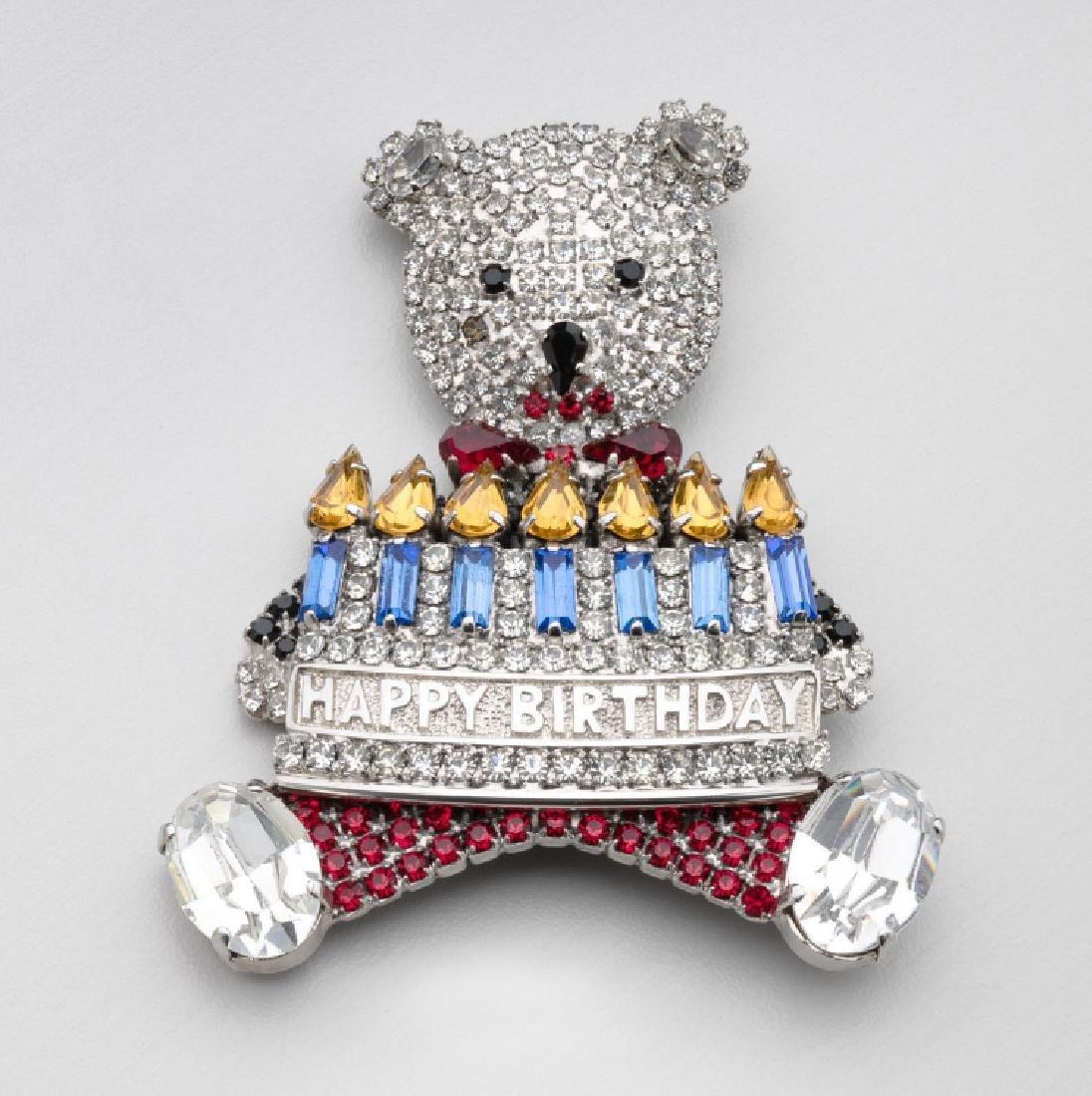 BUTLER & WILSON RHINESTONE HAPPY BIRTHDAY BEAR BROOCH