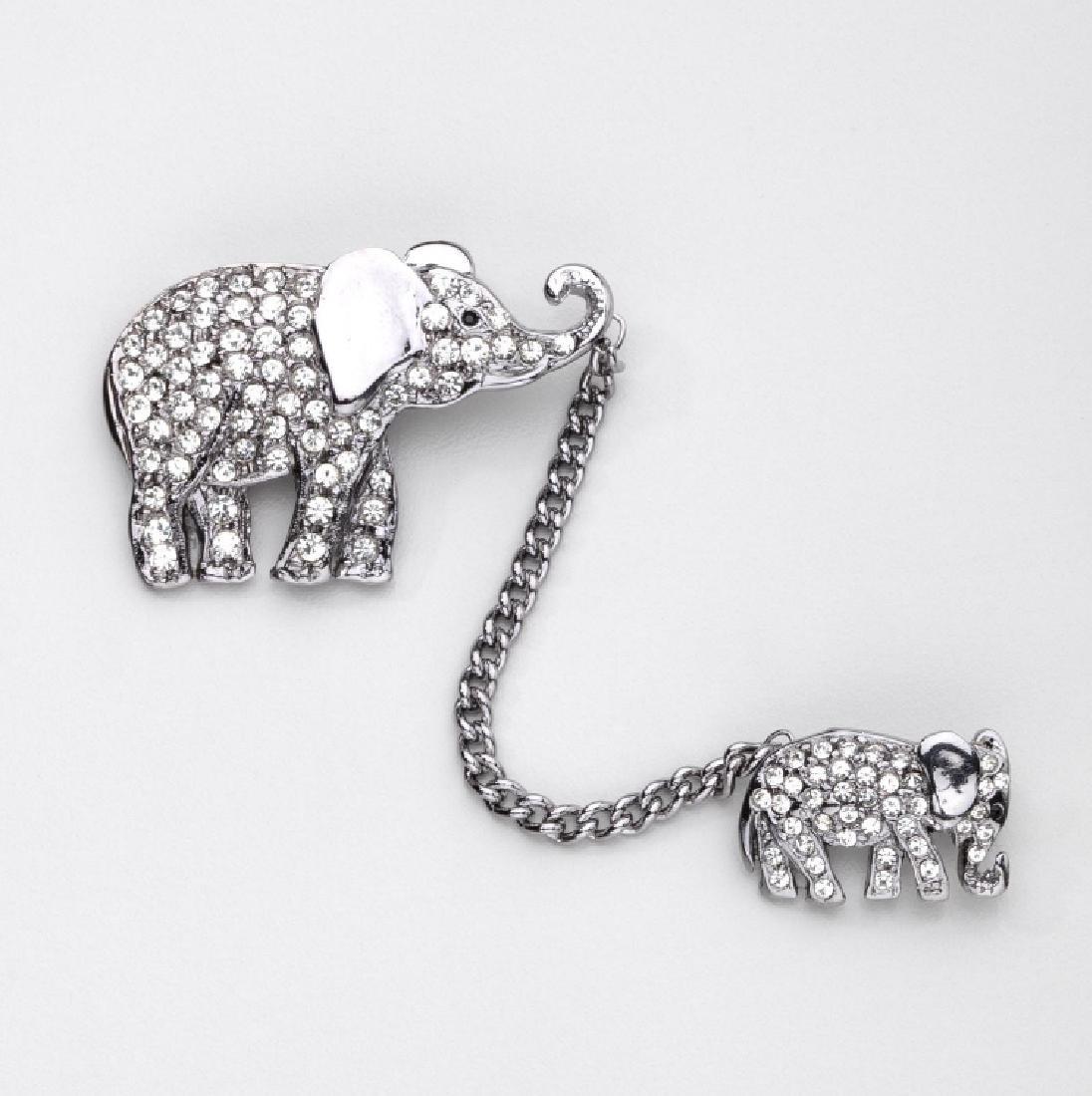 BUTLER & WILSON RHINESTONE PAIR OF WALKING ELEPHANTS