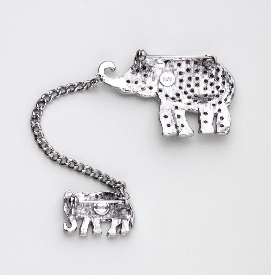 BUTLER & WILSON RHINESTONE PAIR OF WALKING ELEPHANTS - 2