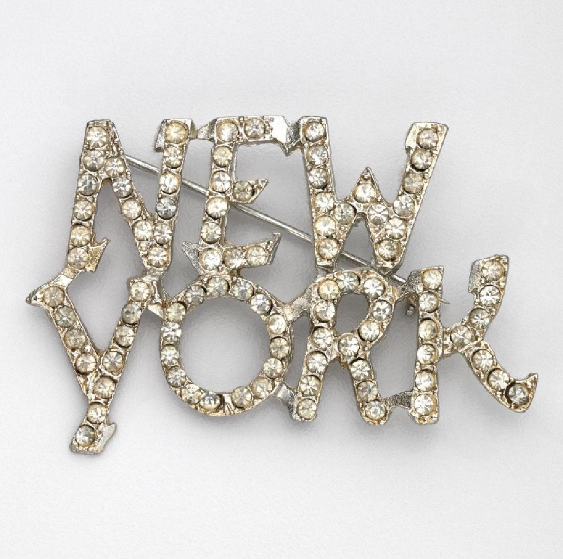 "UNSIGNED BUTLER & WILSON RHINESTONE ""NEW YORK"" BROOCH"