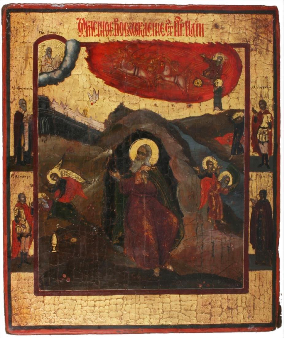 Prophet Elijah Fiery Ascent to Heaven Icon, 19th C