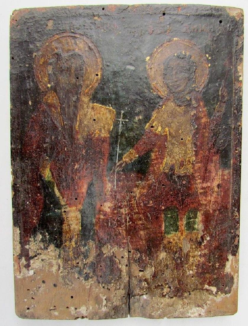 Antique Greek Icon of Selected Saints, 19th C