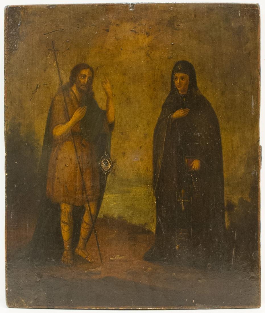 Antique St. John Baptist Russian Icon, 19th C